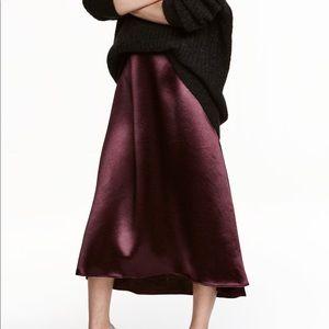 H&M Burgundy Silk Skirt